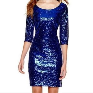 My Michelle Blue Sequin Mini Dress